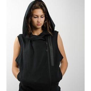 Nike women's black tech fleece hooded zip vest.